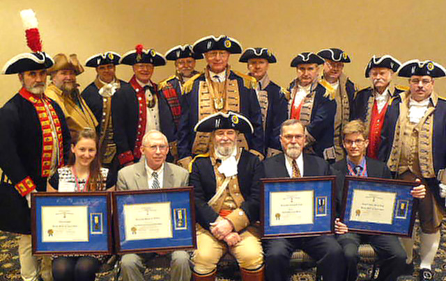 Chief Justice Lawton Nuss receives award from Kansas City chapters of the Sons of the American Revolution.